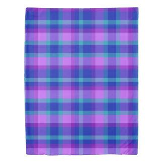 Turquoise Teal Navy Blue Purple Lavender Plaid Duvet Cover