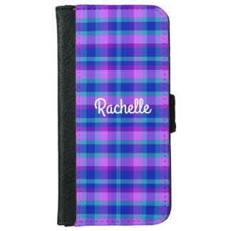 Turquoise Teal Navy Blue Purple Lavender Plaid iPhone 6 Wallet Case