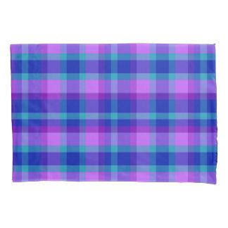Turquoise Teal Navy Blue Purple Lavender Plaid Pillowcase