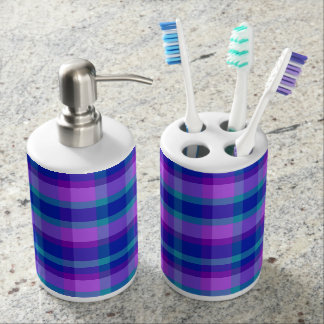 Turquoise Teal Navy Blue Purple Lavender Plaid Soap Dispenser And Toothbrush Holder
