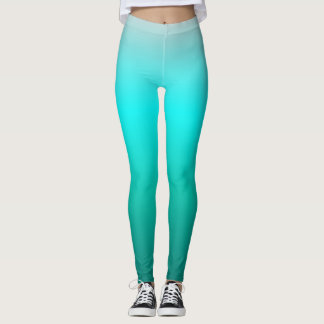 Turquoise Teal Ombre Leggings