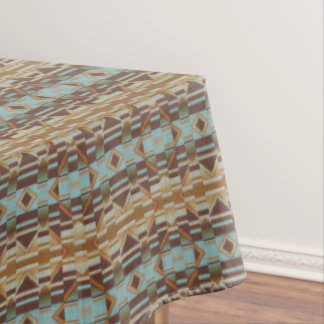 Turquoise Teal Orange Brown Eclectic Ethnic Look Tablecloth