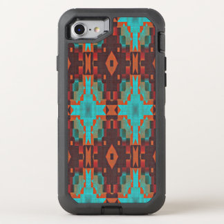Turquoise Teal Orange Red Tribal Mosaic Pattern OtterBox Defender iPhone 8/7 Case
