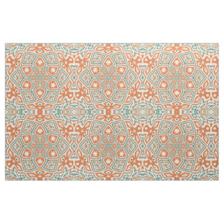 Turquoise Teal Orange Retro Nouveau Deco Pattern Fabric