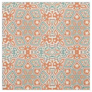 Turquoise Teal Orange Taupe Kaleidoscope Pattern Fabric