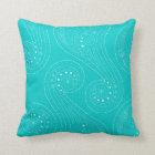 Turquoise Teal Swirls Throw Pillow