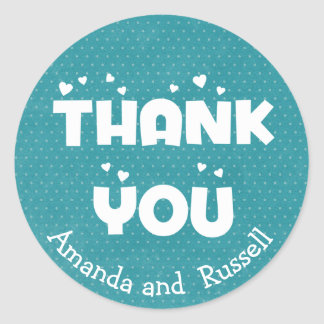 Turquoise Teal Thank You Polka Dots Personalized Classic Round Sticker