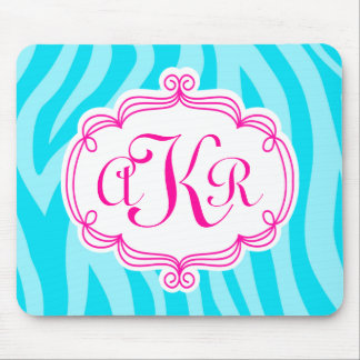 Turquoise Teal Zebra Print Pink Monogram Initial Mouse Pad
