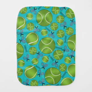 Turquoise tennis balls rackets and nets baby burp cloths