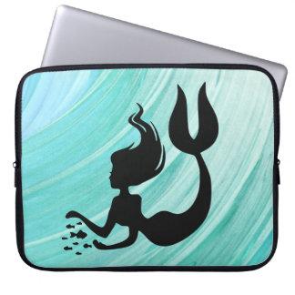 Turquoise Textured Mermaid Laptop Sleeve