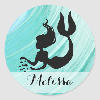 Turquoise Textured Mermaid Silhouette Name Sticker