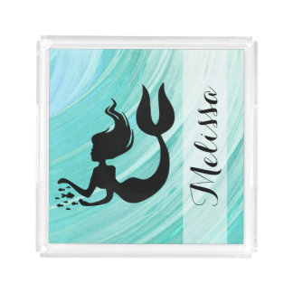 Turquoise Textured Mermaid Silhouette Serving Tray