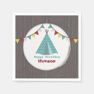 Turquoise Tipi Birthday Napkins Paper Napkin