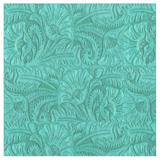 Turquoise Tooled Leather Print Western Fabric