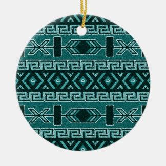 Turquoise Tribal Aztec Pattern Southwest Round Ceramic Ornament