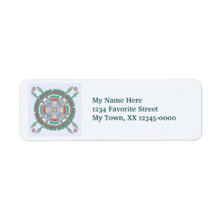 Turquoise Tribal Mandala Label Return Address Label