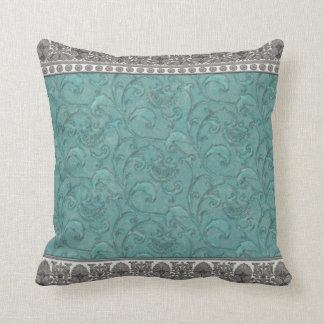 Turquoise Trimmed in Grey by JoMazArt Throw Pillow