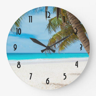 Turquoise Tropical Beach Wall Clock