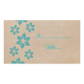 Turquoise Tropical Floral Place Card Business Card Template