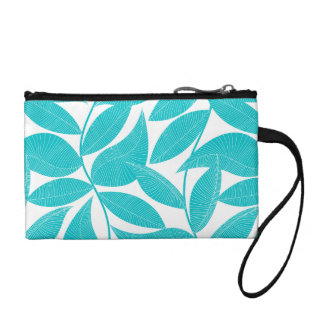 Turquoise tropical leaves coin purse