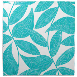 Turquoise tropical leaves napkin