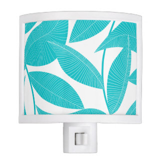 Turquoise tropical leaves night light