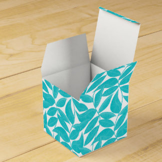 Turquoise tropical leaves party favor boxes