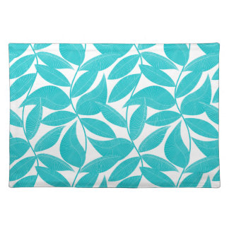 Turquoise tropical leaves placemat