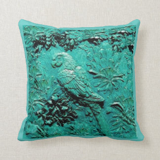 TURQUOISE TROPICAL MACAW PARROT JUNGLE ART THROW PILLOW