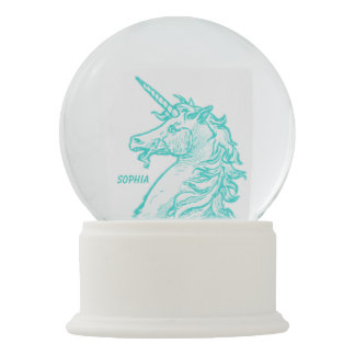 Turquoise Unicorn Magical Horse Add Name Snow Globe