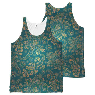 Turquoise Vintage All-Over-Print Tank Top