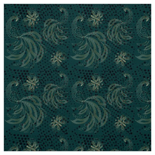 Turquoise vintage butterfly and peacocks pattern fabric
