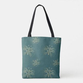 Turquoise vintage butterfly seamless pattern tote bag