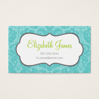 Turquoise Vintage Damask Business Card