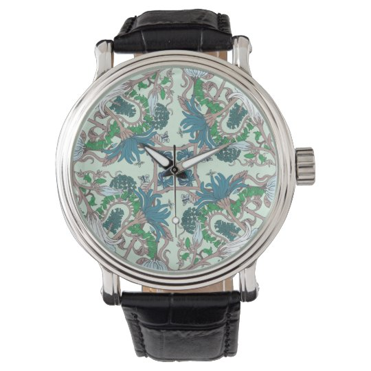 Turquoise Vintage Flowers Watch