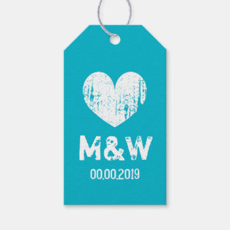 Turquoise vintage heart wedding favor gift tags