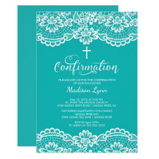 Turquoise Vintage Lace Confirmation Invitation