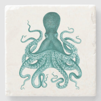 Turquoise Vintage Octopus Illustration Stone Coaster