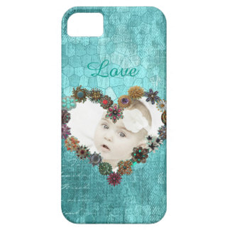 Turquoise Vintage Personalized Picture Phone iPhone 5 Cases