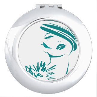 Turquoise Vintage Woman Face Compact Mirrors