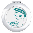 Turquoise Vintage Woman Face Makeup Mirror