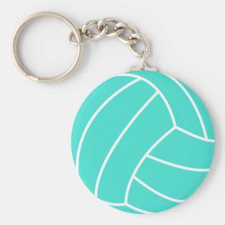 Turquoise ; Volleyball de vert bleu Porte-clé Rond
