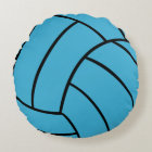 Turquoise Volleyball Round Throw Pillow