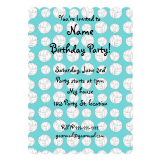 Turquoise volleyballs pattern card