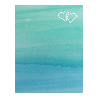 Turquoise water color beach wedding stationery letterhead template