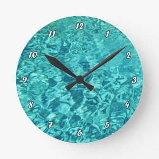 TURQUOISE WATER ROUND CLOCK