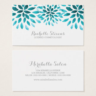 Turquoise Watercolor Chrysanthemums Business Card