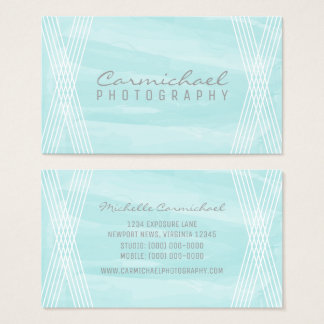 Turquoise Watercolor Deco Business Card