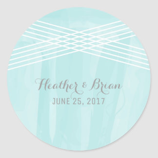 Turquoise Watercolor Deco Wedding Round Sticker