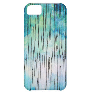 Turquoise Watercolor Doodles Pattern Case For iPhone 5C